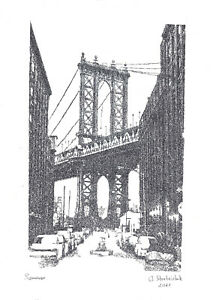 hardware technology print A3 90StA Manhattan Bridge Brooklyn street sidelined