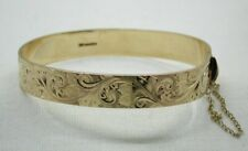 Lovely Quality Heavy Solid 9 Carat Gold Engraved Bangle SMALL WRIST