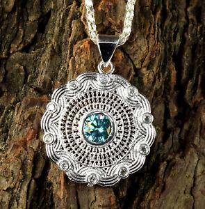 Wedding Gift 2.59 Ct Blue Diamond Solitaire Halo Designer Pendant-Free Chain