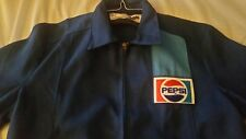 Vintage 70s Pepsi Employee Blue  Full Zip Logo Truck Driver Jacket Medium Unused