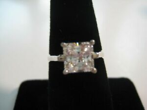 Cubic Zirconia Sterling Silver Square Diamonique Engagement Ring - Size 7 to 7.5