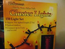 New Two-Tone Yellow Orange Candy Corn Cluster Lights Halloween 150 Bulbs, 9 feet