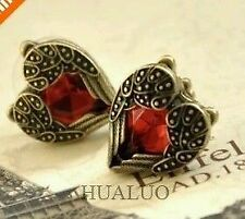 Fashion Red Love Heart Angel Wings Retro Stud Earrings