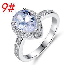 Elegance Heart-shaped White Gemstone Silver Jewelry Wedding Ring sizes 6