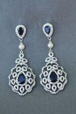 7Ct Pear Blue Sapphire Pearl Synt. Diamond Chandelier Earrings White Gold Silver