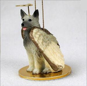 Norwegian Elkhound Ornament Angel Figurine Hand Painted
