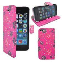 Apple iPhone 5 5S diverses couleurs fleur tourbillon Motif à paillettes étui