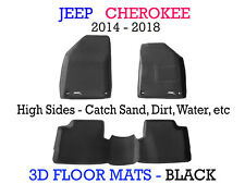 To suit Jeep Cherokee Black Rubber 3D Car Floor Mats 2014 - 2018