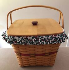Longaberger 1995 Holiday Hostess Evergreen Basket Combo Red Knob Great!