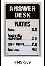 Tin Sign Funny Answer Desk Rates Quotes Sayings Retro Metal Signs Plaques Decor