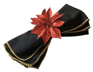Sparkly Red Poinsettia Napkin Rings Set of 6 Christmas Holiday Holder