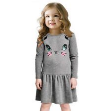 Kids Baby Girls Cat Animal Printed Long Sleeve Lovely Party Pleated Dress 2-7 Y