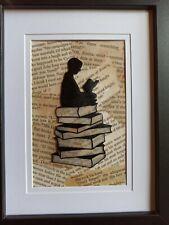 Silhouette Boy reading book Print Framed
