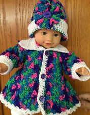 2 pc Handmade Crochet Girls' L/S Coat & Beanie Bright Mix/White 6 to 9 months