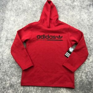 Adidas Hoodie Womens Small Red Fleece Pullover Graphic Spell Out Sweater NEW