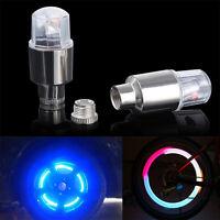 2Pcs Bicycle Bike Car Wheel Tyre Tire Valve Cap Neon Spoke LED Lamp Light