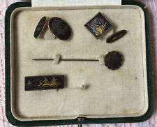 Antique Japanese Shakudo Two Tie Pins & Two Odd Cuff Links