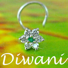 Real Diamonds & Emerald Flower 14k Gold Wedding Nose Piercing Ring Pin Stud Bone