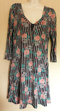 WHITE STUFF (UK12 / EU40) BLUE/GREEN/PINK STRETCH TUNIC WITH 3/4 SLEEVES