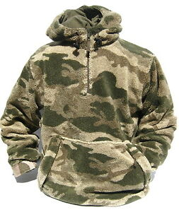 Cabela's Outfitter Camo Quiet Berber Fleece Windshear Pullover Hunting Jacket
