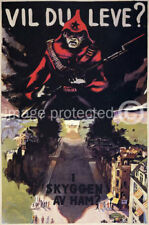 Danish WW2 Military Propaganda Poster Vil Du Leve