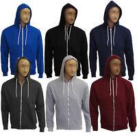 Mens Plain Warm Zip Up Fleece Hoody Hooded Sweatshirt Jacket Top Hoodies S-XL