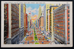 American Postcard ~ Park Avenue Looking North from 46th Street ~ New York 1947
