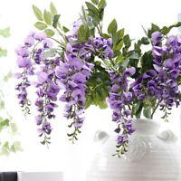 Artificial Wisteria Flowers Vine Silk Garland Plant Fake Garden Home  Decor