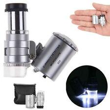 Microscopio Tascabile 60x Luce LED e UV Lente d'ingrandimento Gioielli Minerali