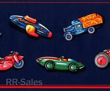 30' 2  Blue Red Tractor Race Car Truck Motorcycle Boy Toys Wall Wallpaper Border