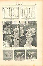 Outils du sculpteur en fer bois machine à mettre au point armature GRAVURE 1895