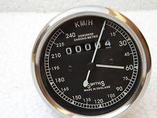 NEW REPLICA SMITHS SPEEDOMETER 240 kph Black BSA ENFIELD - fast shipping