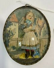 Vintage Old wood carving signed. Girl in the garden.