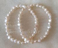2 Stück 5-6mm weiß Barock Süßwasser Perle elastisches Armband 7.5 zoll