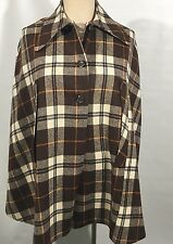 Vtg 70s Mod Cape Coat Jacket Wool Plaid Brown Orange Lined One Size
