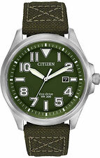 New Citizen Men's Eco Drive Stainless Steel Green Nylon Strap Watch AW1410-16X