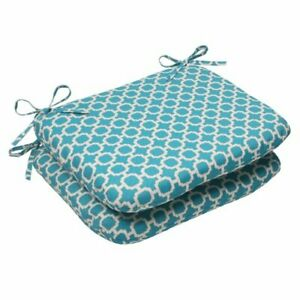 """Pillow Perfect Outdoor/Indoor Hockley Teal Round Corner Seat Cushions 18.5"""" x..."""