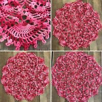 Vintage Crocheted Crochet Doilies Doily Lot of 3 Shades of Pink ~ EUC