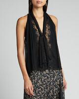 Jonathan Simkhai Tie Neck Lace Sleeveless Top in Black S $300 NWT