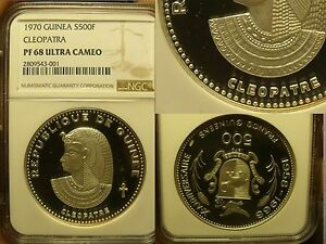 Guinea 1970 500 Francs~NGC PF-68 ULTRA CAMEO~Cleopatra~RARE