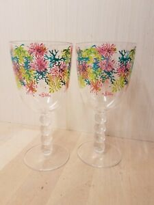 Set of 2 Lilly Pulitzer Acrylic Wine Glasses Dirty Shirley Pattern