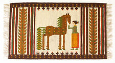 More details for horse vintage 1970s folk art polish textile wall hanging / rug new old stock