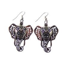 Locket Lava Beads Alloy Earring Hook 1 Pair Silver Plated Hollow Elephant Head