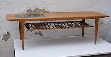 Sofá mesa cfc Silkeborg teca con trenzado cuero-tablar/mosaico-taracea