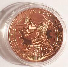 "2016 1 OZ ""BITCOIN GUARDIAN""  999.0 Pure Copper Bullion Coin/token in Ac/Cap"