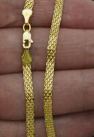 "14K Yellow Solid Gold Round Bismark Chain Necklace 3.4mm 16"" 18'' 20'' 22'' 24"""
