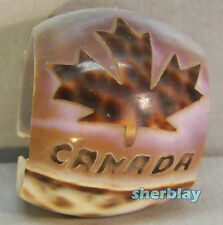Vintage Carved COWRIE SEASHELL Shell Souvenir CANADA MAPLE LEAF NAPKIN RING