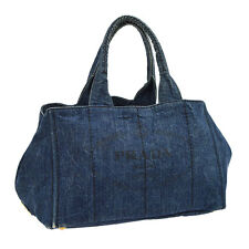 Authentic PRADA Logos CANAPA Hand Tote Bag Purse Blue Denim Italy M12841