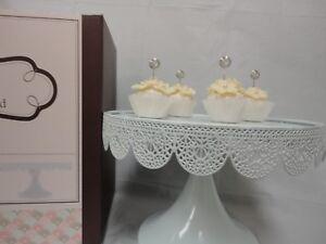 """ROUND CAKE STAND Metal WHITE 9.5"""" Modern Dessert Wedding Birthday Party Event"""