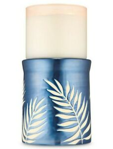 Bath & Body Works Blue Ceramic Palm Fronds Pedestal 3 Wick Candle Holder Stand